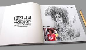 sketchbook mockup with realistic pencil sketch photoshop effect