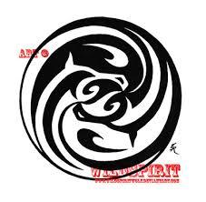 black tribal yin yang design