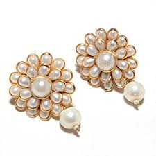 new jhumka earrings jewar mandi gold plated metal with pearl earring for women