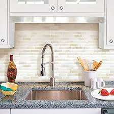 Amazoncom Beaustile White Brick Mosaic D Wall Sticker Home - Wallpaper backsplash