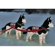 lighted dog christmas lawn ornament northern light 2 siberian huskies pulling sleigh with gifts pre lit