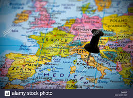 Rome Italy Map Small Pin Pointing On Rome Italy In A Map Of Europe Stock Photo