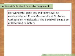 program for funeral how to write a funeral program obituary with pictures wikihow