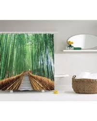 84 Inch Long Shower Curtains Cyber Monday Special Bridge Over Tree Bamboos Colorful Nature