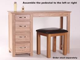 Oak Vanity Table With Drawers Light Oak Dressing Table Single Ped With 4 Drawers Oakea