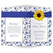 wedding program cover wedding program cover sunflower royal blue damask