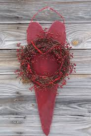 large primitive barn heart wreath wild rose hips for country