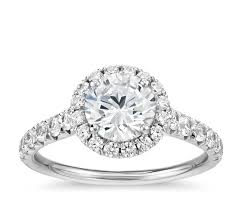 engagement rings with halo pavé halo engagement ring in platinum 1 2 ct tw