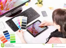 graphic designer at work color samples stock photo image 39569399