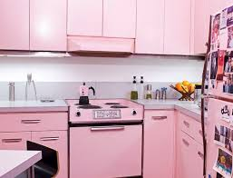 chic pink retro kitchen design ideas and cabinets