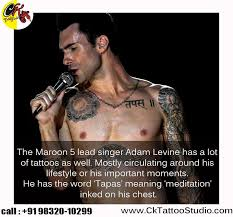 the maroon 5 lead singer adam levine has ck tattoo studio