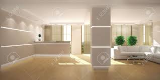 3d rendering of a modern light office lobby with reception stock