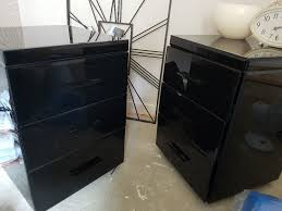 reduced complete set next black mirror glass bedside draws