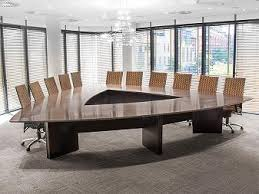 Custom Made Office Furniture by Triangular Boardroom Table With Custom Made Chairs In Weave Fabric