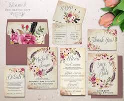 bohemian wedding invitations floral wedding invitation set printable boho wedding invitation