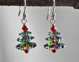 christmas earrings christmas tree earrings christmas jewelry artisan jewelry