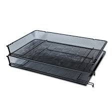 Black Wire Mesh Desk Accessories by Mesh Stackable Side Load Tray By Universal Unv20012