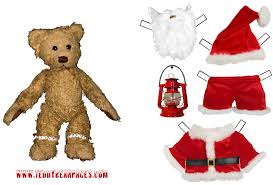 teddy bear santa clause paper doll to print out and play with