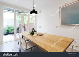scandi styled dining room closed french stock photo 414461998