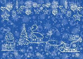 christmas blue background with white contour cartoon santa claus