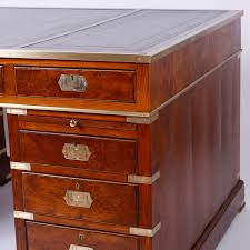 Campaign Style Desk Antique Campaign Style Mahogany Leather Top Partners Desk