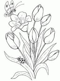 printable version tulips coloring