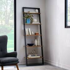 Leaning Bookshelf With Desk Bookcase Leaning Ladder Bookcase With Drawers Ladder Bookcase