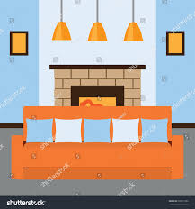 orange couch living room next fireplace stock vector 599273186