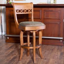 bar stools brown stained wooden swivel counter stool with