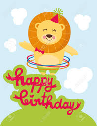 cute happy birthday card with nice lion royalty free cliparts