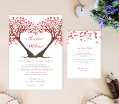 tree wedding invitations heart tree wedding invitation reception card bundle printed