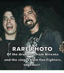 Fighter Meme - rare photo of the drummer from nirvana and the singer from foo