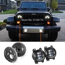 led lights for jeep wrangler dot approved 7 black daymaker led headlights pair 4 inch 30w led