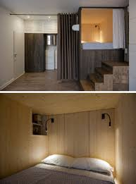 Shelves Built Into Wall Small Apartment Design Idea Raised Bedroom Allows For Storage