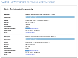 purchase order voucher receiving reminder old finance site the