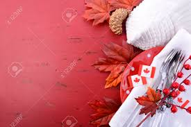 Red Flag White Flower Canada Red And White Theme Thanksgiving Background With Decorated