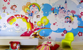 Cartoon Wall Painting In Bedroom Loft Bed Wit Metal Ladder Design Red White Makeup Mirror Desk