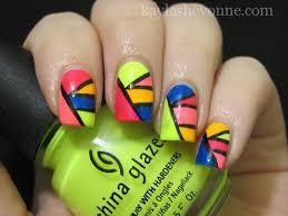 nails by kayla shevonne tutorial neon geometric nail art