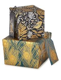 gold robin peacock feather wrapping paper bundle m s
