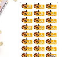 tubs thanksgiving countdown mini sticker sheet