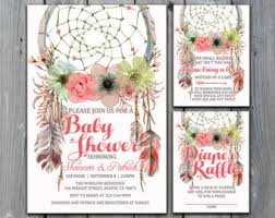 bohemian baby shower dreamcatcher baby shower invitation tribal by paperfoxstudios with