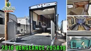 large garage 2018 toy hauler fifth wheel vengeance 295a18 extra large garage rv
