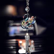 car charm bling rhinestones swan rear view mirror ornament