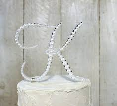 k cake topper k cake topper pearl monogram wedding decorated with pearls in any