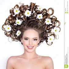 flower hair smiling woman with flowers in hair royalty free stock photos
