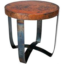 Copper Top Dining Room Tables Round Strap End Table With Hammered Copper Top