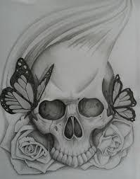 skull inside pencil and in color skull inside