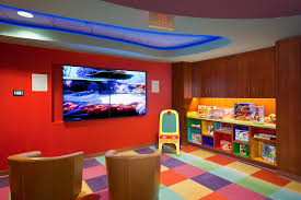 playroom shelving ideas furniture orange wooden shelves connected by lcd tv on red wall and
