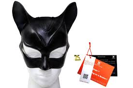 harley quinn black leather mask catwoman superhero halloween 2833