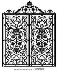 black metal gate forged ornaments on stock illustration 535455232